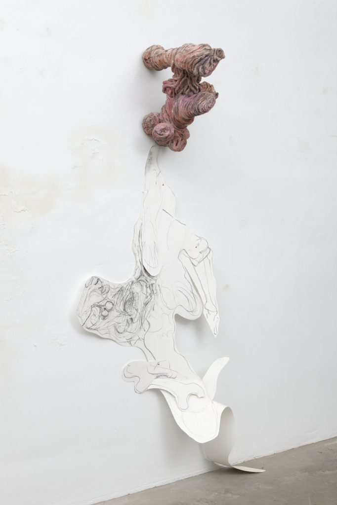 2010 - Naked- 180x100x40 - Ceramic, Charcoal, Pencil, Paper