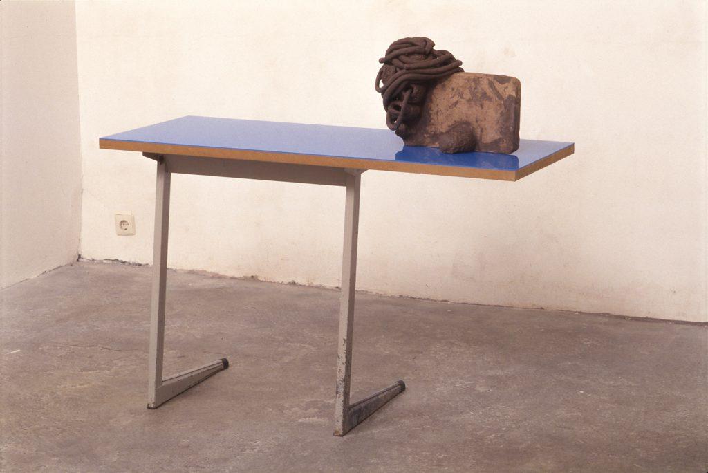 2001 - Medusa (Nosejob) 107x49x123 -Fired Clay PMMA Wood Table